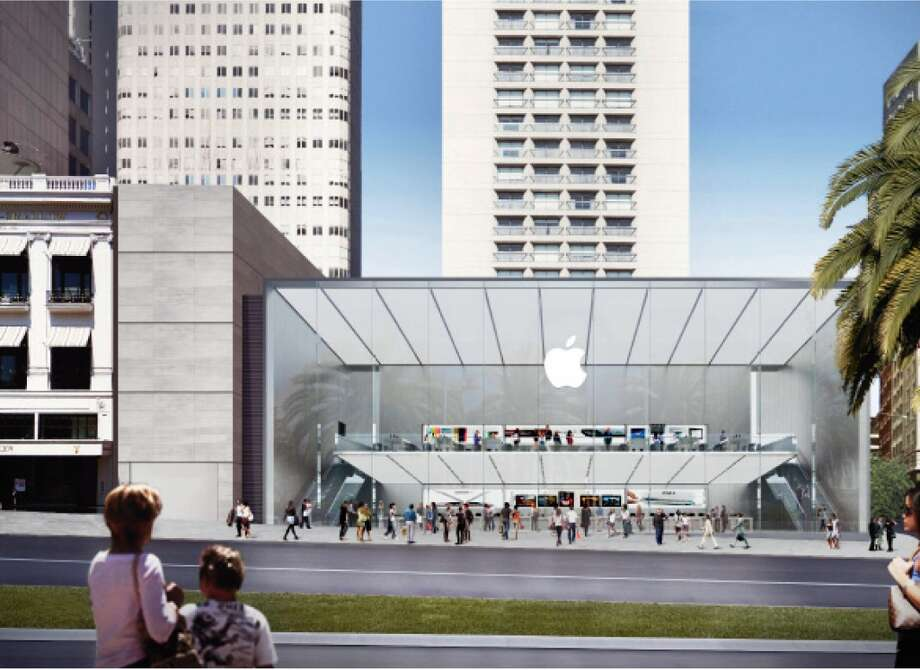 "The proposed Apple Store for the the corner of Post and Stockton streets across from Union Square would replace an existing four-story triangular retail building with a two-story rectangle of  metal and glass. The new building would also alter the brick-stepped plaza  that frames the Grand Hyatt on Stockton Street -- a space that includes the  popular ""San Francisco Fountain"" by Ruth Asawa."