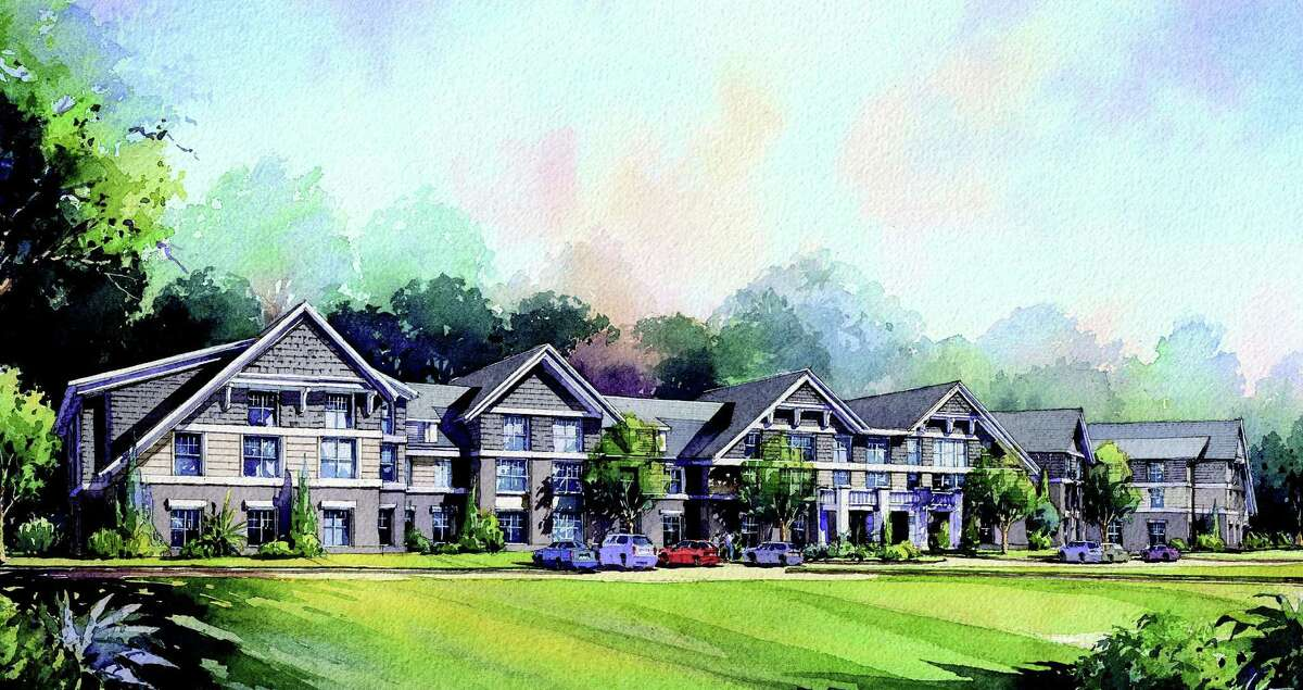 A sketch of Jonathan Rose Companies' proposed senior-residential complex at the town-owned Baron's South property.