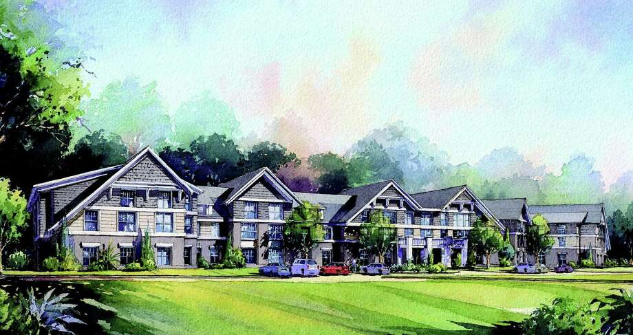 A sketch of Jonathan Rose Companies' proposed senior-residential complex at the town-owned Baron's South property. Photo: Contributed Photo / Westport News contributed