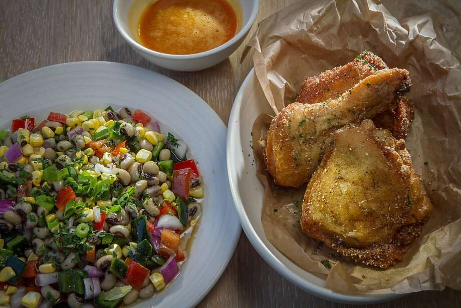 Fried chicken with bourbon-honey butter ($17) and black-eyed pea succotash ($7) are among the best dishes at South at SFJazz Center. Photo: John Storey, Special To The Chronicle
