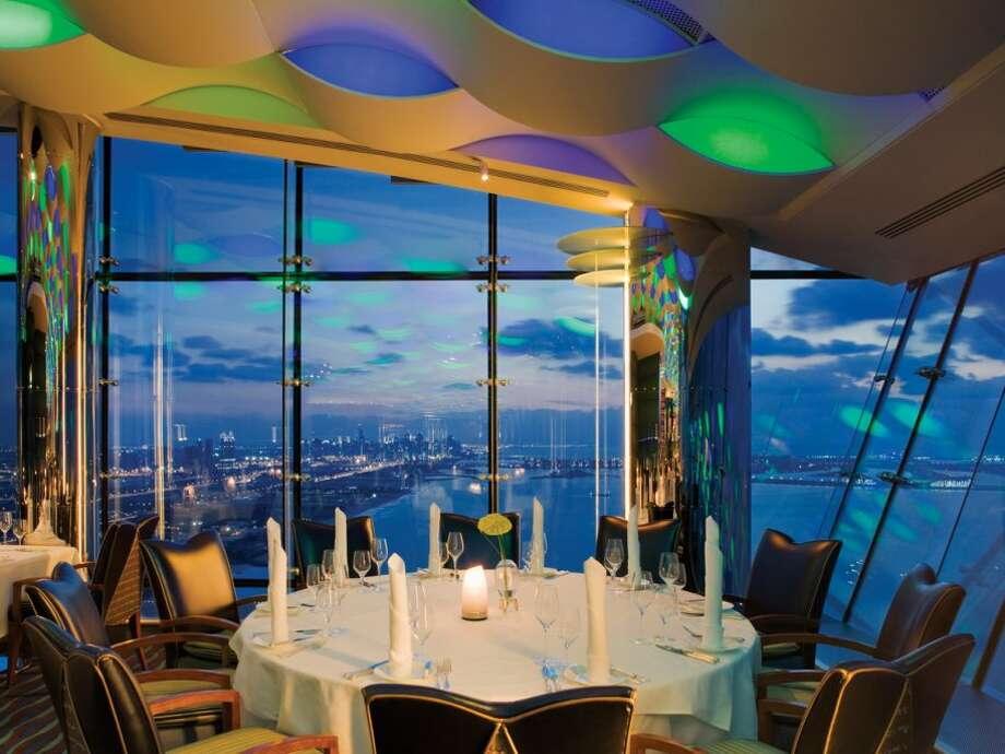 Or if you'd rather look at the city skyline, dine in Al Muntaha, a restaurant on the 27th floor with views of the Gulf.Source: Business Insider Photo: Business Insider