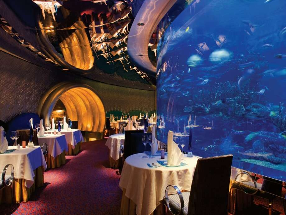 There's a floor-to-ceiling aquarium inside the restaurant. Watch the fish swim by as you dine on delicacies like caviar, oysters, and lobster. Main dishes cost anywhere from $70 to $250.Source: Business Insider Photo: Business Insider