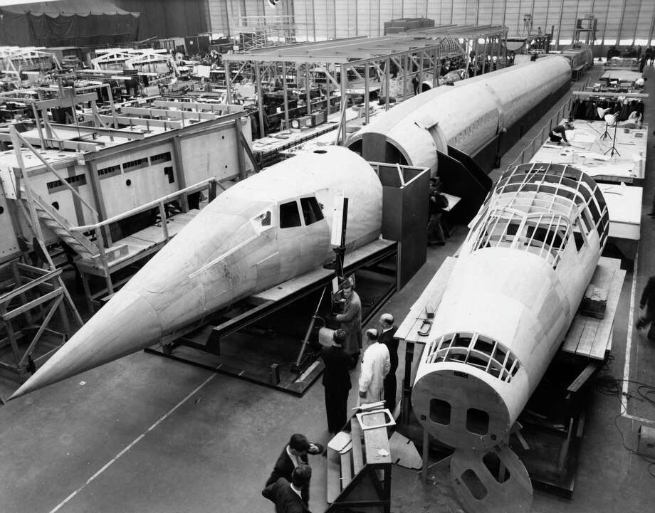 A wooden mockup of the Concorde is shown under construction at Filton in Bristol, England, on October 24, 1963. Photo: Central Press, Getty Images / Hulton Archive