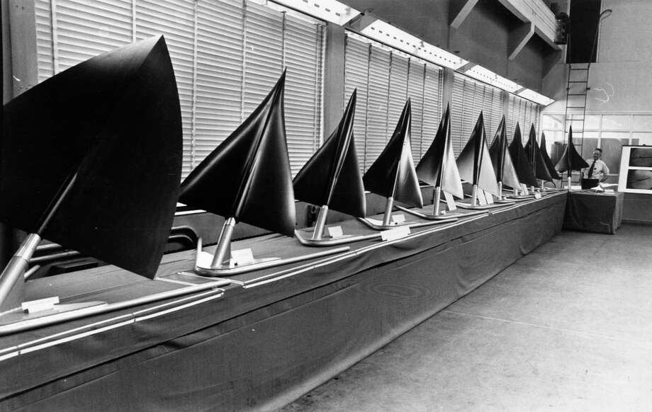 Heres a model line up of the various designs suggested for the shape of Concorde. The eventual deign is at the far end of the row. Photo: Central Press, Getty Images / Hulton Archive