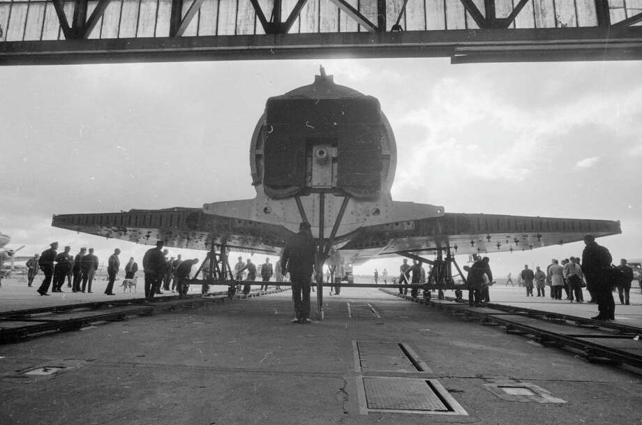 A section of the fuselage of the Concorde is wheeled out of the hangar on a specially built rail for testing on March 6, 1966. Photo: Reg Lancaster, Getty Images / Hulton Archive