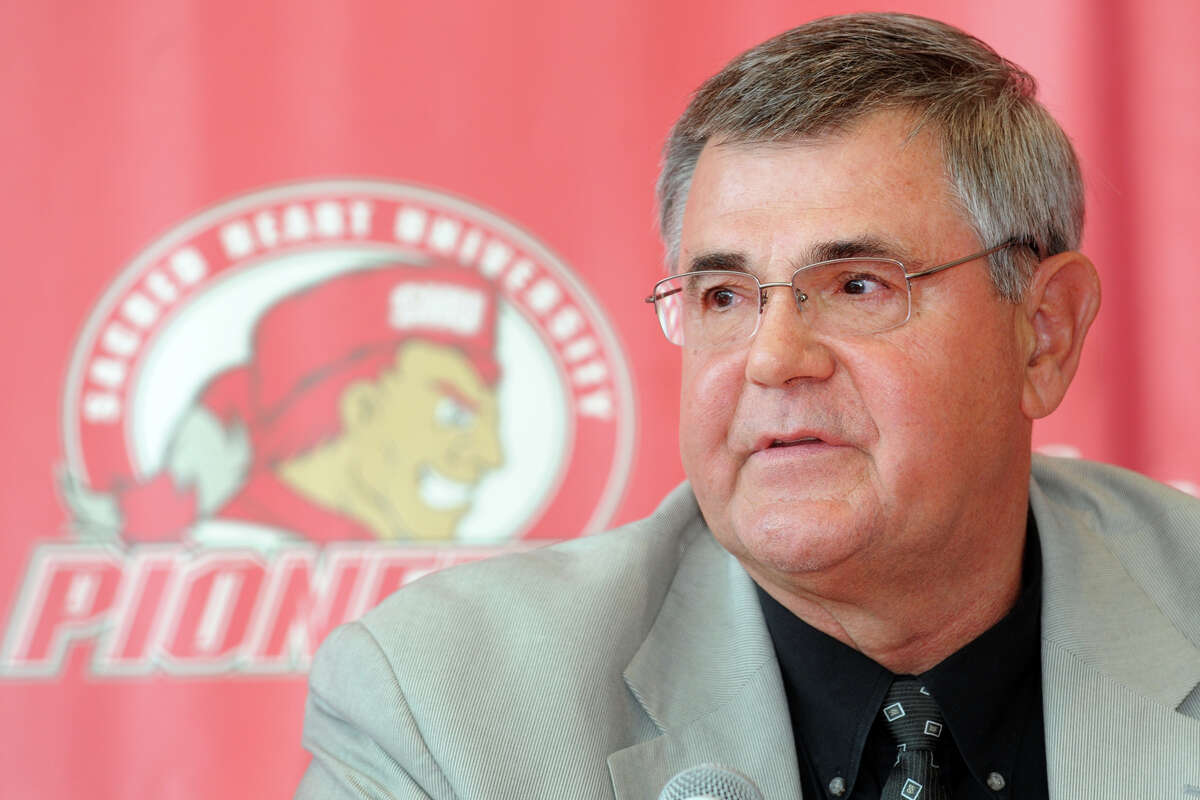 Former Sacred Heart University men's basketball coach Dave Bike speaks during a press confernece in the McMahon Center on campus in Fairfield, Conn., May 30th, 2013.