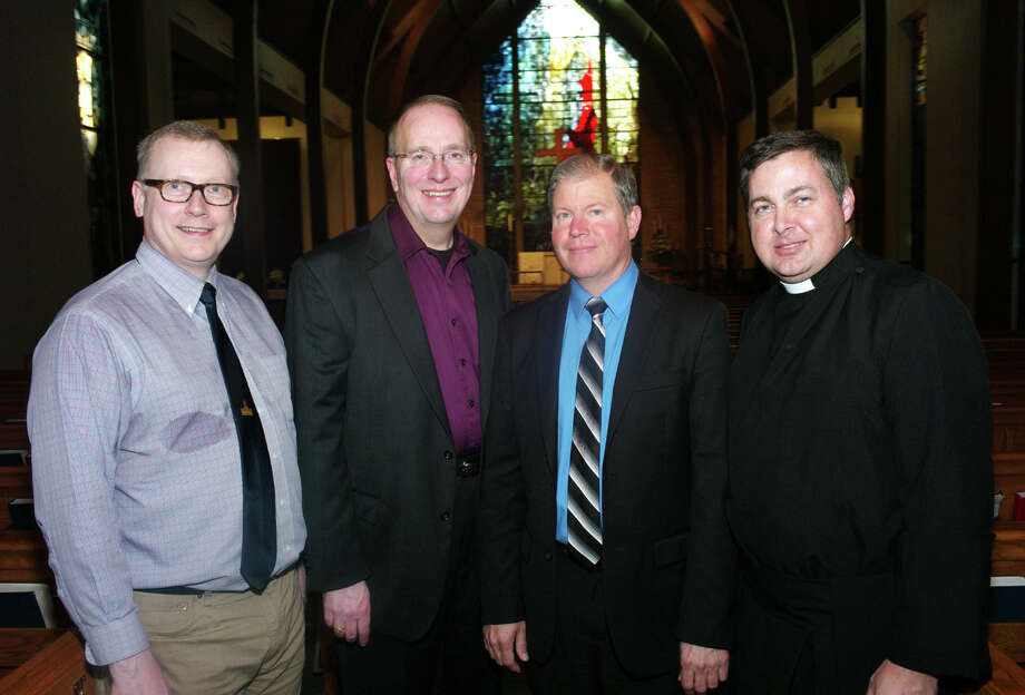 OTS/HEIDBRINK - Russell Jackson (from left), David Heller, Craig Phillips and Reverend David G. Read at the parish choir reception at St. Luke's Episcopal Church on 5/12/2013. names checked photo by leland a. outz Photo: LELAND A. OUTZ, SPECIAL TO THE EXPRESS-NEWS / SAN ANTONIO EXPRESS-NEWS