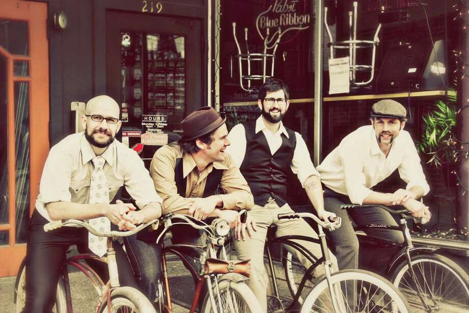 The Steel Wheels band from left, Brian Dickel, upright bass, harmony vocals; Trent Wagler, lead vocals, guitar, banjo, song-writing; Jay Lapp, mandolin, guitar, harmony vocals; Eric Brubaker, fiddle, harmony vocals Photo: Courtesy Photo / RubySky Photography