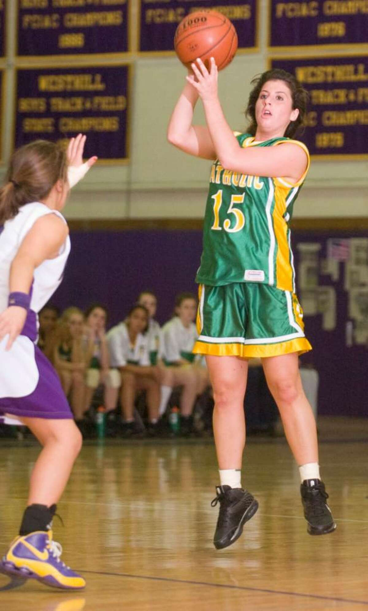 Trinity Catholic's Erin Sottosanti shoots during and FCIAC girls basketball game at Westhill High School in Stamford, Conn. on Tuesday, Jan. 12, 2010.