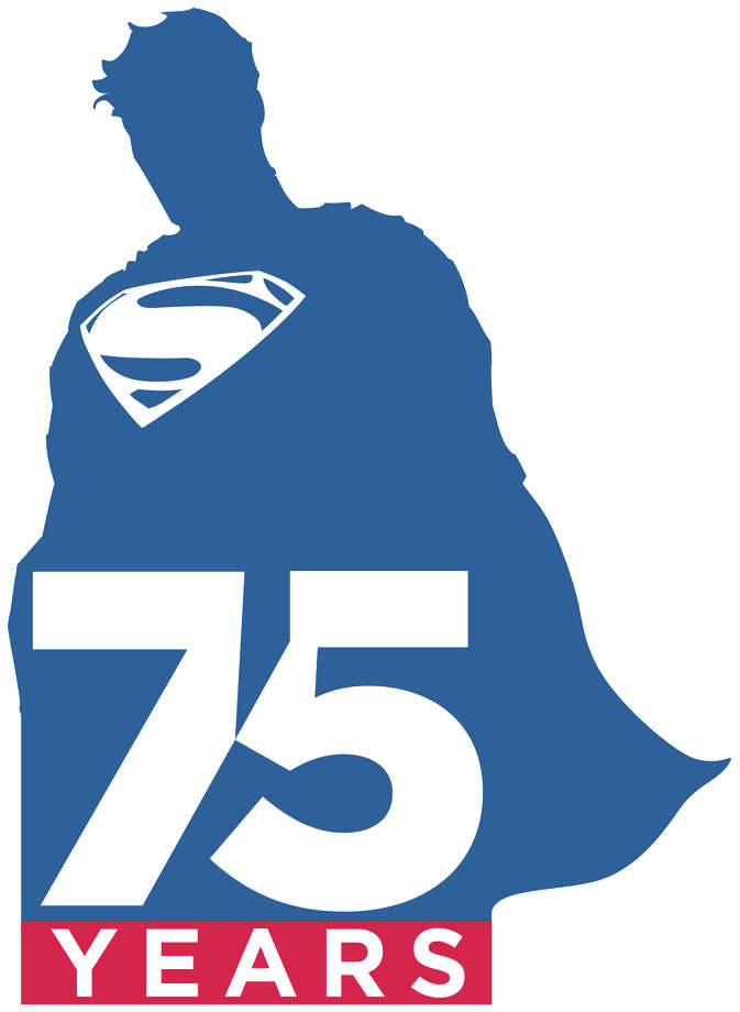 "This illustration released by DC Entertainment shows a logo commemorating the 75th anniversary of Superman. Its first appearance will be on the cover of ""Superman Unchanged""  by DC co-publisher Jim Lee and writer Scott Snyder on June 12, along with a new animated short being produced by Zack Snyder, which will debut at San Diego Comic-Con in July. Warner Bros. CEO Kevin Tsujihara said Thursday, May 30, 2013, the new logo is part of a year-long celebration of what he called the ""first super hero."" (AP Photo/DC Entertainment)"