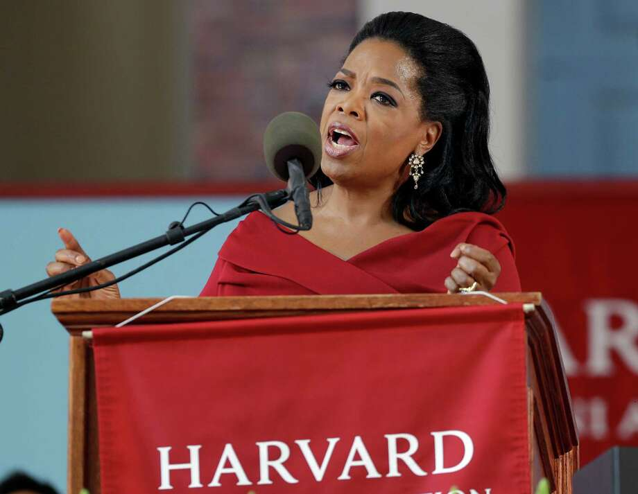 Oprah Winfrey speaks during Harvard University's commencement ceremonies in Cambridge, Mass., Thursday, May 30, 2013. She earlier received an honorary Doctor of Laws degree. (AP Photo/Elise Amendola) Photo: Elise Amendola