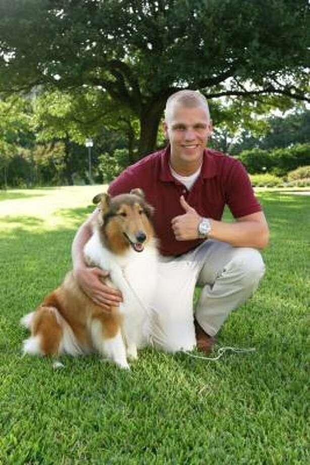 Reveille VIII and handler John Busch. Photo: Texas A&M University