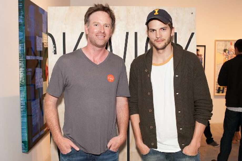 The wares of ecommerce T-shirt retailer Pickwick & Weller were introduced on April 25 at Gallery 16 in SoMa. Left: Co-founder Ryan Donahue and Ashton Kutcher, who stood out in the fashion-forward crowd due in part to his scruffy beard, hoodie and Iowa Hawkeyes cap.