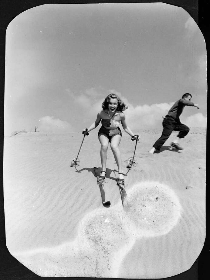 Norma Jeane Baker, future film star Marilyn Monroe (1926 - 1962), tries her hand at sand skiing on a dune, circa 1943. (Photo by Silver Screen Collection/Hulton Archive/Getty Images) Photo: Silver Screen Collection, Multiple / 2006 Getty Images