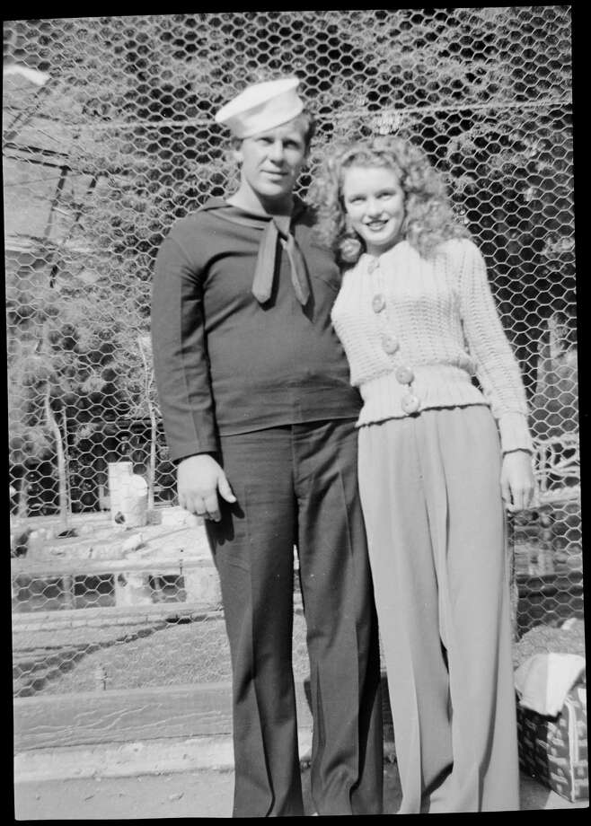 Norma Jeane Baker, future film star Marilyn Monroe (1926 - 1962), with her first husband, Merchant Marine James Dougherty (1921 - 2005), circa 1943. (Photo by Silver Screen Collection/Hulton Archive/Getty Images) Photo: Silver Screen Collection, Multiple / 2006 Getty Images