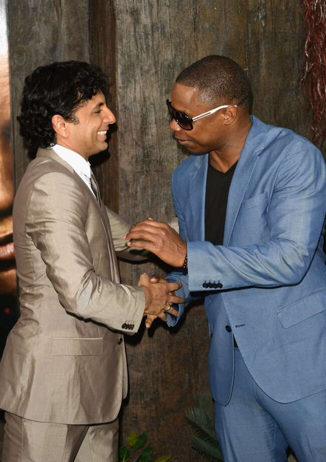 "M. Night Shyamalan and Doug E. Fresh attends the ""After Earth"" premiere at Ziegfeld Theater on May 29, 2013 in New York City."