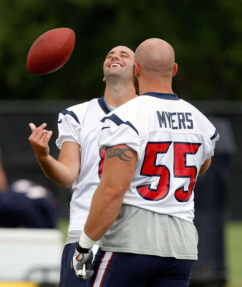 Quarterback Matt Schaub and guard Chris Myers share a laugh before the workout.