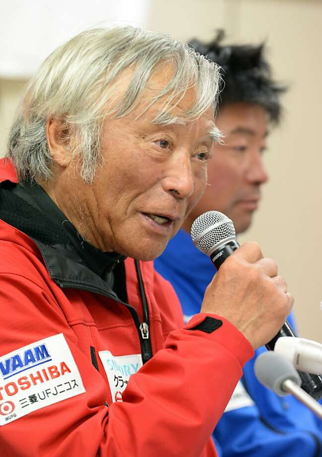 Japanese adventurer Yuichiro Miura, 80, discusses his climb to the summit of Mount Everest last month. Photo: Toshifumi Kitamura, AFP/Getty Images