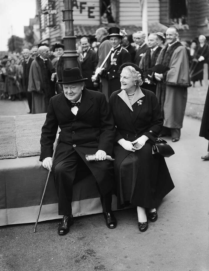 Former British Prime Minister Sir Winston Churchill with his wife Clementine at a civic parade in his Woodford constituency to mark the forthcoming coronation of Queen Elizabeth II, 31st May 1953. Photo: Edward Miller, Getty Images / 2006 Getty Images