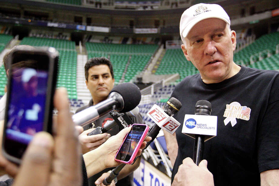 Spurs coach Gregg Popovich answers questions from the media after practice Sunday May 6, 2012 at EnergySolutions Arena in Salt Lake City, Utah. Photo: EDWARD A. ORNELAS, SAN ANTONIO EXPRESS-NEWS / © SAN ANTONIO EXPRESS-NEWS (NFS)