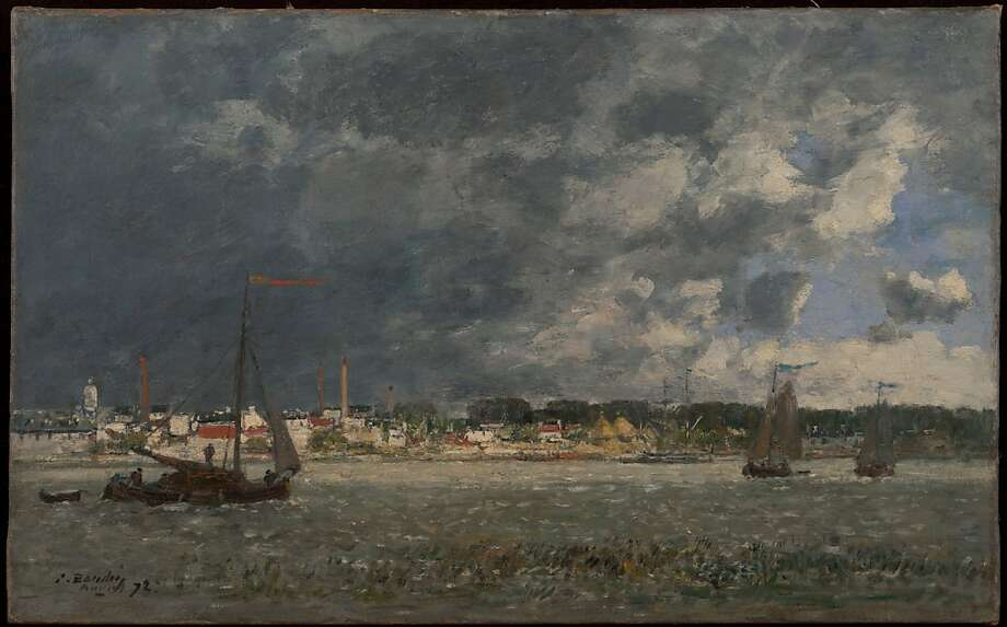 """Storm over Antwerp"" (1872) Oil on canvas by Eugene Louis Boudin  16   25 5⁄8 in.  Fine Arts Museums of San Francisco.  Gift of Osgood Hooker Photo: Unknown"