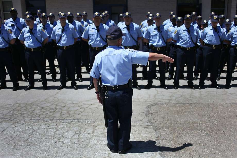 Platoon Leader Michael Juan leads a police training class - San Francisco could hire 300 officers over the next two years. Photo: Pete Kiehart, The Chronicle
