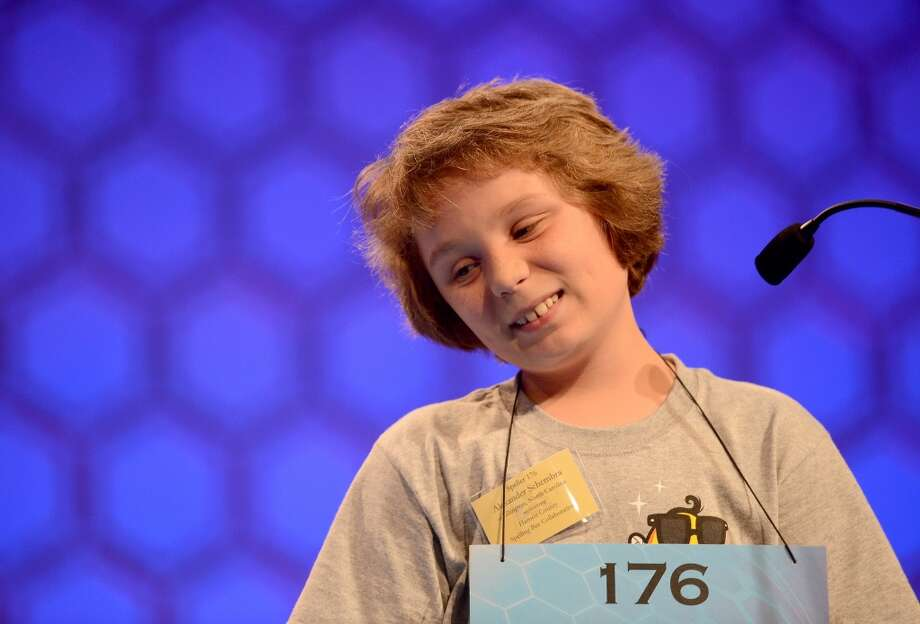Alexander Schemra of Lillington, North Carolina, reacts to missing a spelling during the third round of the 2013 Scripps National Spelling Bee in Oxon HIll, Maryland, Wednesday, May 29, 2013. (Chuck Myers/MCT)