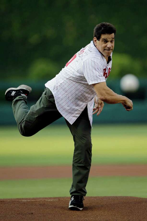 Actor Lou Ferrigno throws out a ceremonial first pitch before an interleague baseball game between the Philadelphia Phillies and the Boston Red Sox, Thursday, May 30, 2013, in Philadelphia. (AP Photo/Matt Slocum) Photo: Matt Slocum, Associated Press / AP