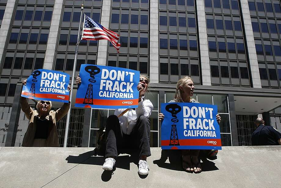 Protesters against the oil drilling known as fracking campaigned across from the state building in May. Photo: Liz Hafalia, The Chronicle