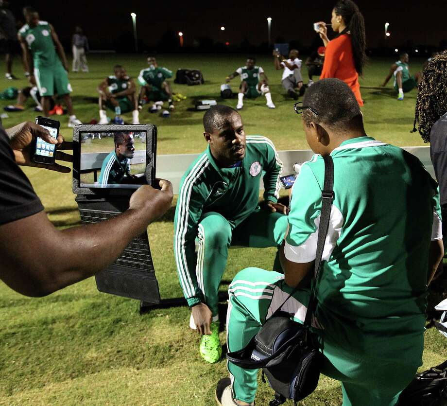 Vincent Enyeama, goalkeeper for the Nigeria National Team, gives an interview after soccer practice at the Houston Amateur Sports Park, Wednesday, May 29, 2013, in Houston, as they prepare for Friday's game against Mexico National. Photo: Karen Warren, Houston Chronicle / © 2013 Houston Chronicle