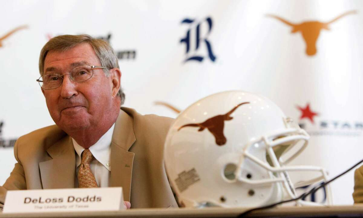 University of Texans Athletic Director DeLoss Dodds listens to questions during a news conference Thursday, Aug. 20, 2009, Houston. Rice will host Texas at Reliant Stadium to open the 2010 season, it was announced Thursday during the news conference. ( Brett Coomer / Chronicle )