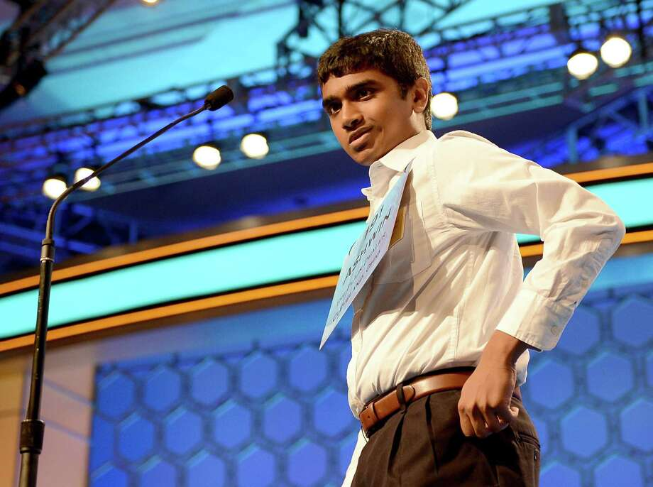 Ashwin Veeramani of Cleveland, Ohio, after he misspelled a word in the semifinals of the 2013 Scripps National Spelling Bee in National Harborl, Maryland, Thursday, May 30, 2013. Photo: Chuck Myers, McClatchy-Tribune News Service / MCT