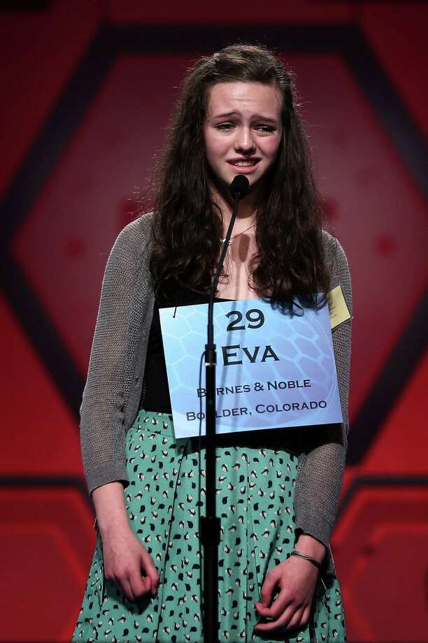 Eva Kitlen of Niwot, Colorado, reacts after she misspelled her word in the round six of the 2013 Scripps National Spelling Bee May 30, 2013 at Gaylord National Resort and Convention Center in National Harbor, Maryland. Forty-two have advanced to the semifinal of the annual spelling contest for the championship. Photo: Alex Wong, Getty Images / 2013 Getty Images