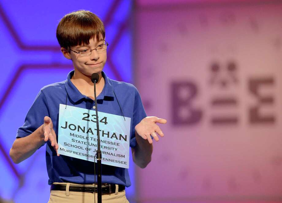 Jonathan Caldwell of Hendersonville, Tennessee, reacts after misspelling a word in the semifinals of the 2013 Scripps National Spelling Bee in National Harbor, Maryland, Thursday, May 30, 2013. Photo: Chuck Myers, McClatchy-Tribune News Service / MCT