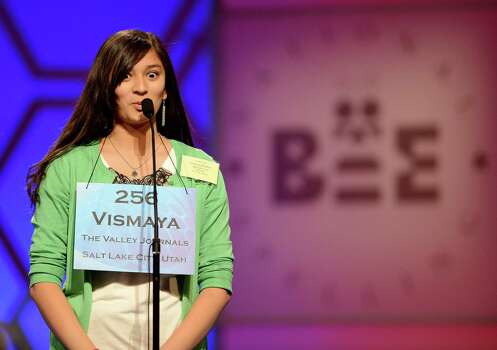 Vismaya Kharkar of Bountiful, Utah, competes in the semifinals of the 2013 Scripps National Spelling Bee in National Harbor, Maryland, Thursday, May 30, 2013. Kharkar made it through as a Bee finalist. Photo: Chuck Myers, McClatchy-Tribune News Service / MCT