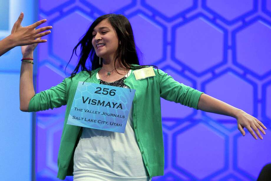 Vismaya Kharkar, 14, of Bountiful, Utah, celebrates after learning that she made the finals of the National Spelling Bee on Thursday, May 30, 2013, in Oxon Hill, Md. Photo: Evan Vucci, Associated Press / AP