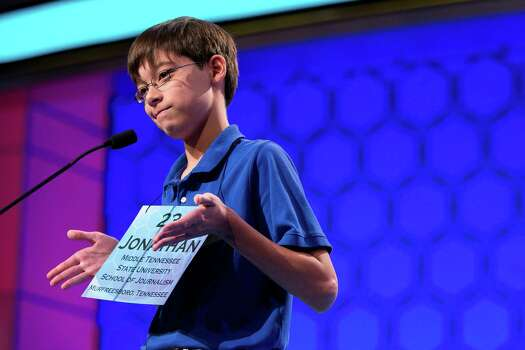 "Jonathan Caldwell, 13, of Hendersonville, Tenn., shrugs his shoulders after getting the word ""pergameneous"" incorrect during the semifinal round of the National Spelling Bee on Thursday, May 30, 2013, in Oxon Hill, Md. Photo: Evan Vucci, Associated Press / AP"