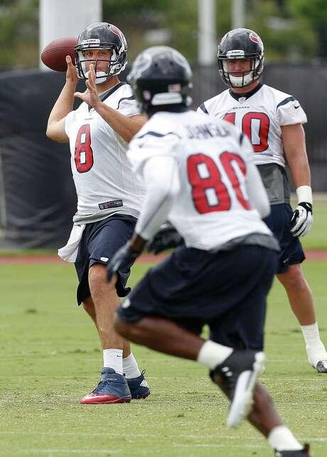 Quarterback Matt Schaub targets receiver Andre Johnson, a trend that has no signs of stopping. Photo: Bob Levey, Photographer / ©2013 Bob Levey