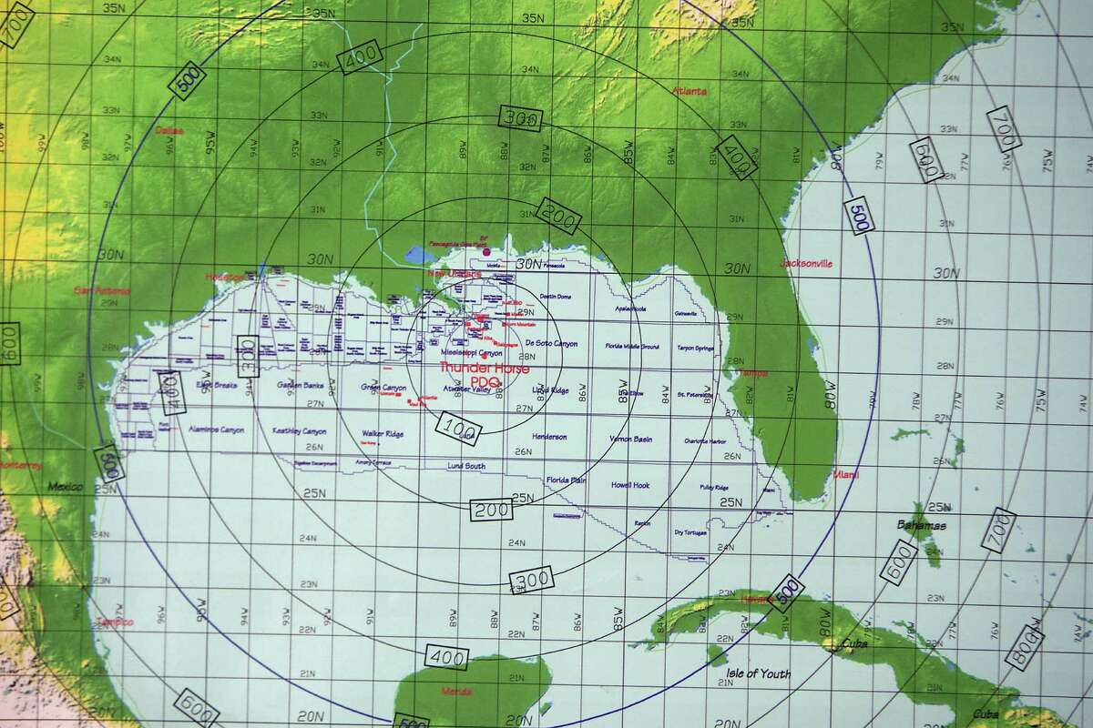 This map shows BP's Thunder Horse platform. A conference room in BP's campus in West Houston becomes the crisis room when a storm is brewing.