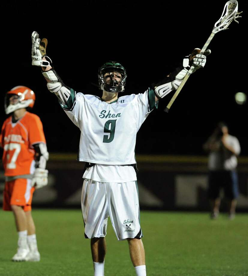 Shenendehowa's Joe Romano, center, celebrates his second-half goal against Mamaroneck during their regional outbracket lacrosse game on Thursday, May 30, 2013, at UAlbany in Albany, N.Y. (Cindy Schultz / Times Union) Photo: Cindy Schultz / 00022588A