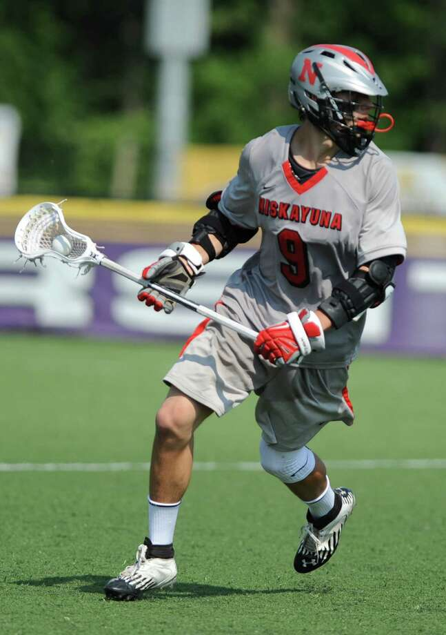 Niskayuna's Luke Goldstock looks for a way to the net during the class B regional semifinal lacrosse game against Yorktown at UAlbany on Thursday, May 30, 2013 in Albany, N.Y.  (Lori Van Buren / Times Union) Photo: Lori Van Buren / 00022587A