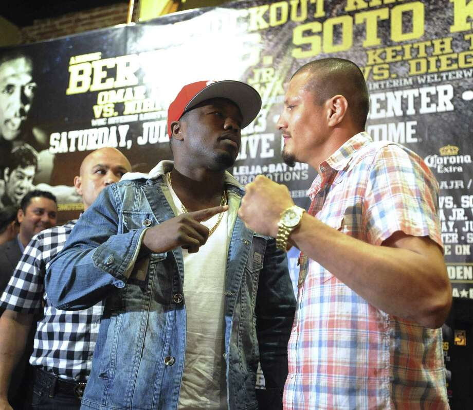 "Andre Berto (left) and Jesus Soto Karass are the main event for ""Knockout Kings II"" on July 27 at the AT&T Center. Two recent losses cost Berto a big payday fight vs. Floyd Mayweather Jr. Photo: Billy Calzada / San Antonio Express-News"