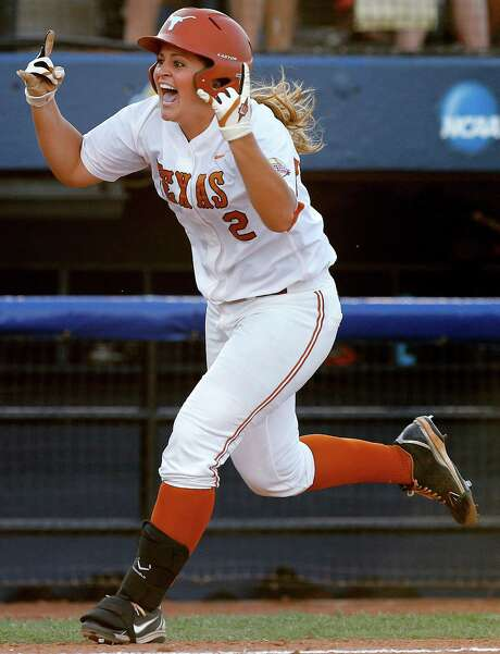 Kim Bruins gives Texas a shot in the arm with a two-run homer in the fifth inning Thursday against Arizona State. Photo: Bryan Terry, MBI / The Oklahoman