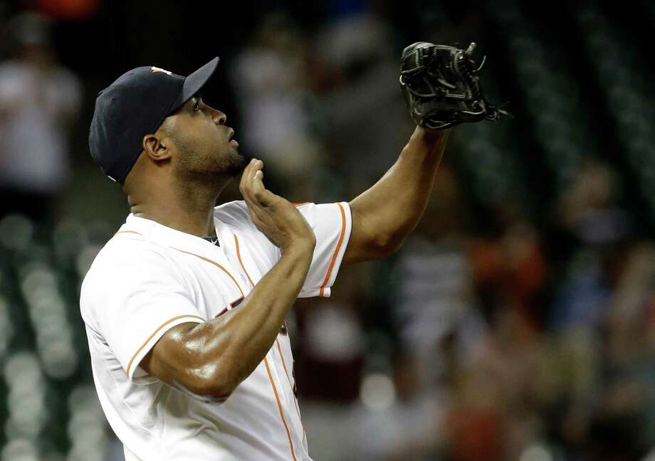 Jose Veras, who has eight saves this season in his first year as a closer, has taken on a leadership role among his fellow Astros relievers in dispensing advice. Photo: Pat Sullivan, STF / AP