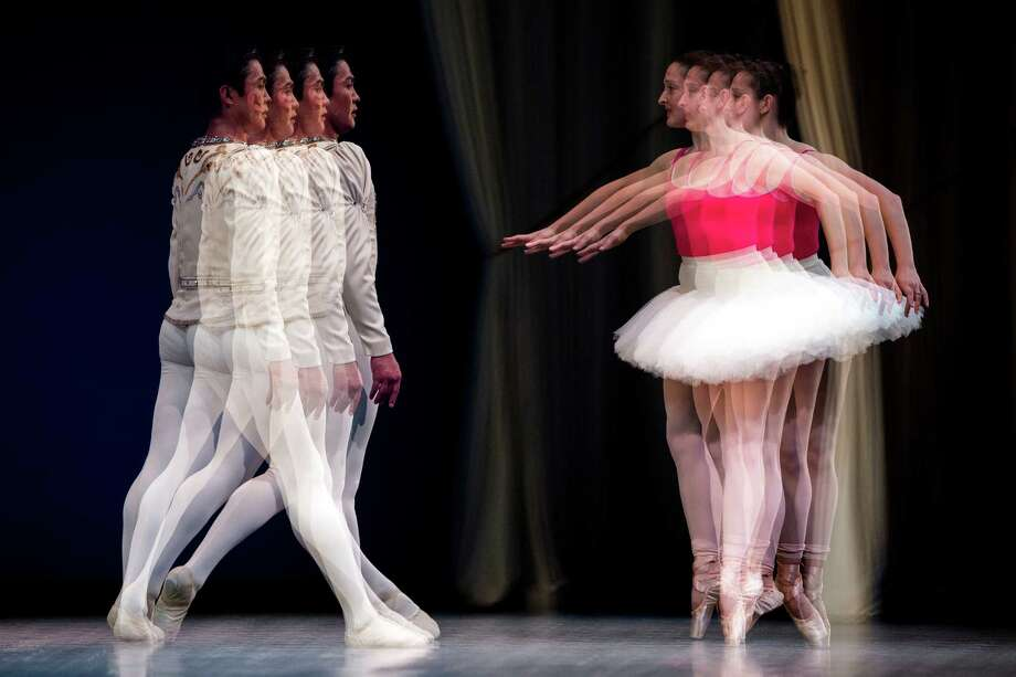 Shown as a four-image exposure created in-camera, Batkhurel Bold, left, and Carrie Imler practice during a final rehearsal for the Pacific Northwest Ballet's performance of Director's Choice Thursday, May 30, 2013, at McCaw Hall in Seattle. Director's Choice runs for seven performances only from May 31 through June 9 at the Seattle Center's Marion Oliver McCaw Hall. Photo: JORDAN STEAD, SEATTLEPI.COM / SEATTLEPI.COM