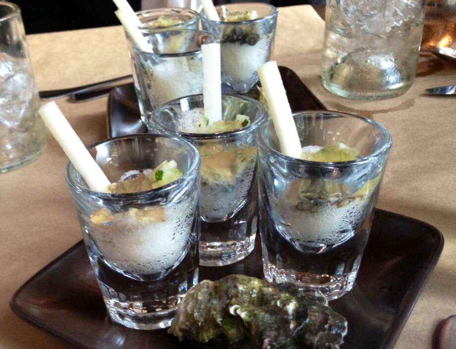 Oyster shooters at Sir and Star in Olema