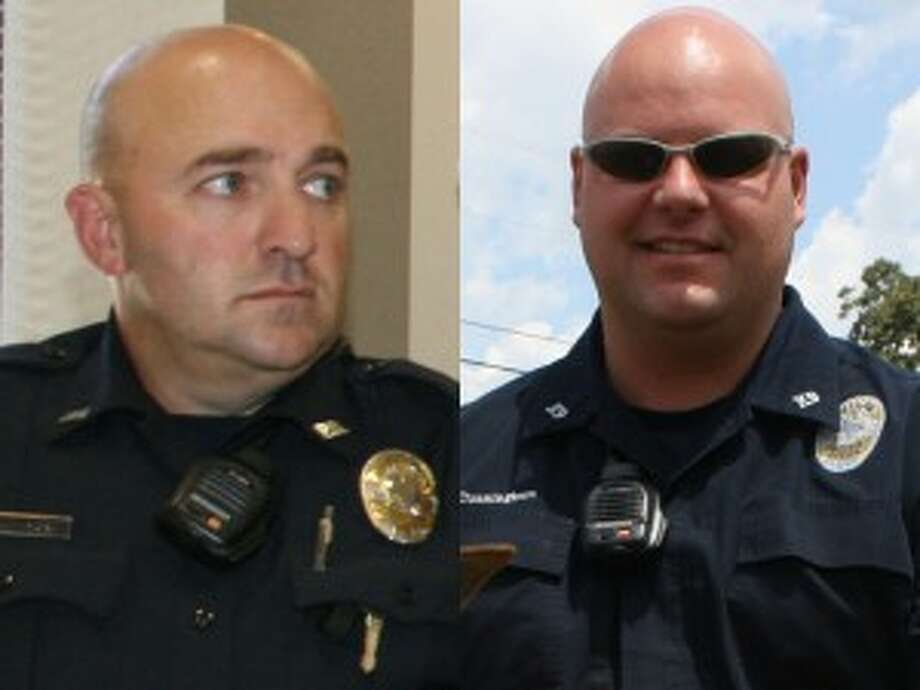 Officer Ricky Grissom, left, and Officer Ryan Cunningham, right