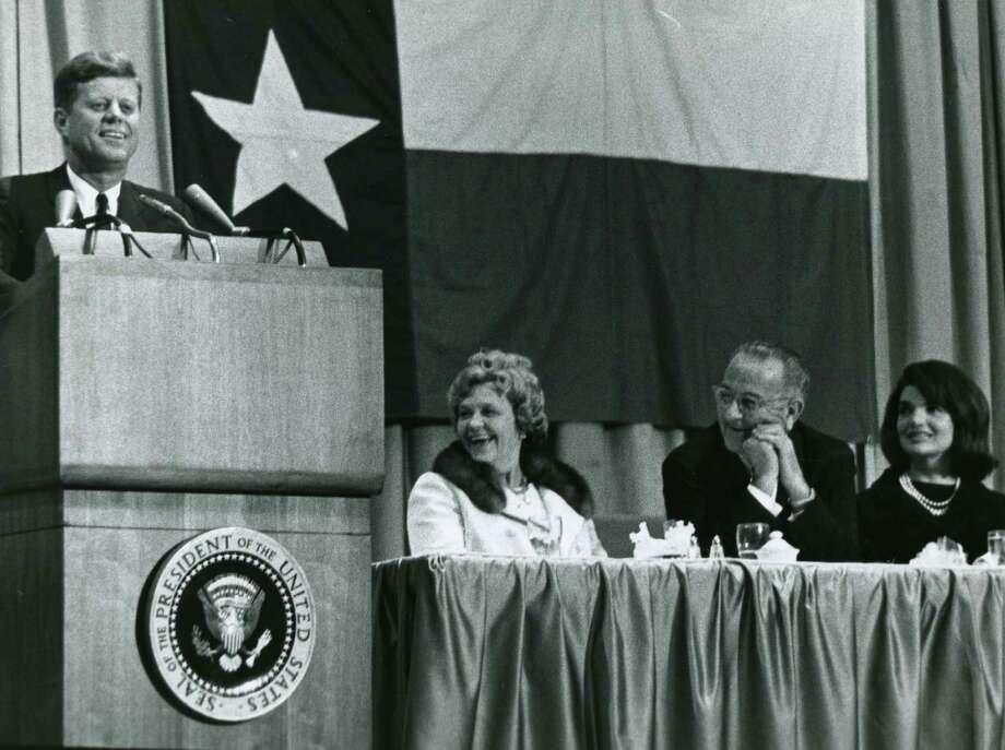 November 21, 1963:Kennedy delivers a speech in Houston honoring Congressman Albert Thomas. Photo: Richard Pipes, Houston Chronicle / Houston Chronicle