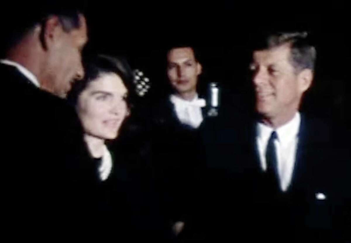 This frame grab provided Feb. 22, 2011, by the The Sixth Floor Museum at Dealey Plaza in Dallas shows an image of President John F. Kennedy and first lady Jacqueline Kennedy on the eve of his 1963 assassination. The silent film shows the Kennedy's during their appearance at a League of United Latin American Citizens at the Rice Hotel in Houston on the night of Nov. 21, 1963. Roy Botello of San Antonio, who shot the film with his home movie camera, has donated the film to the museum. (AP Photo/The Sixth Floor Museum at Dealey Plaza) NO SALES, NO ARCHIVE, ONE TIME USE
