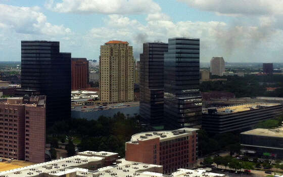 A view of the fire from the Galleria area, at 610 and San Felipe.